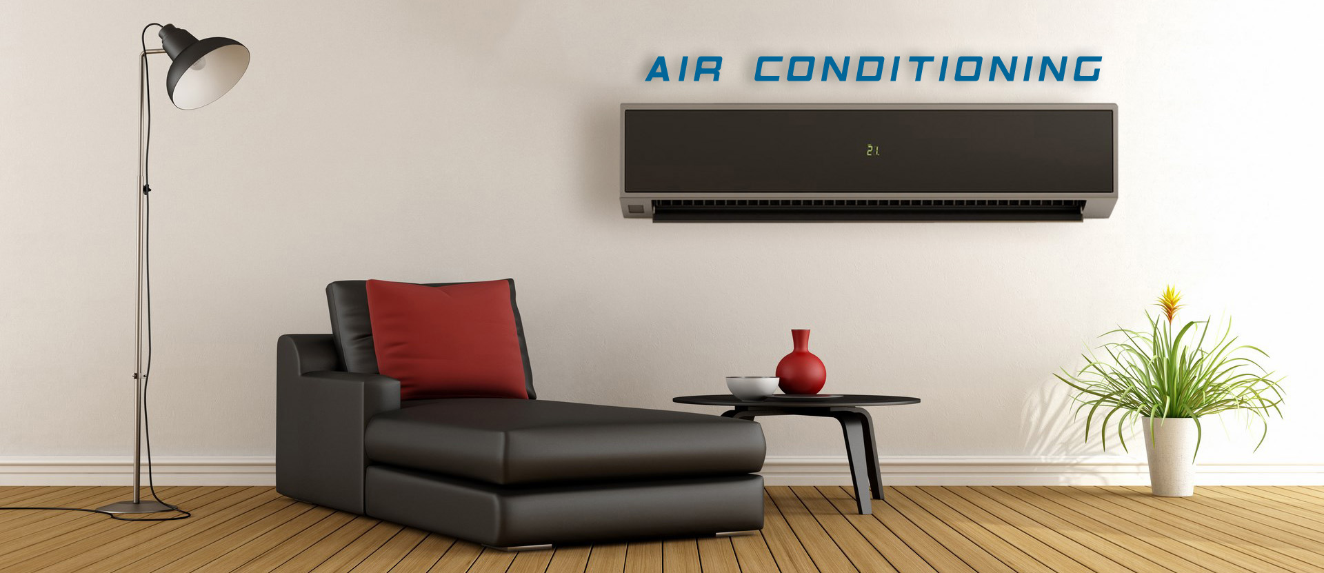 Lamp, sofa, table, and CoolAir24 air conditioning london